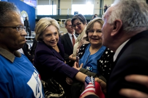 Presidential candidate Hillary Clinton meets supporters at Nashua Community College in Nashua, N.H., on Tuesday, Feb. 2, 2016, after she was officially declared the winner of the Iowa caucus. (Ryan Mcbride/Zuma Press/TNS)
