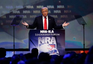 Republican presidential candidate Donald Trump speaks at the NRA Leadership Forum on Friday, May 20, 2016, in Louisville, Ky. (Mark Cornelison/Lexington Herald-Leader/TNS)