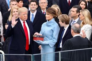 Donald Trump being sworn in on January 20, 2017 at the U.S. Capitol building in Washington, D.C. Photo from White House Facebook page.
